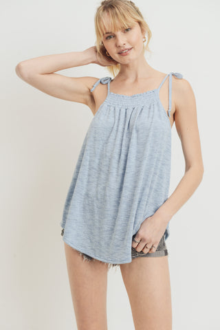 Textured Knit Smoking Spaghetti Shoulder Strap Top