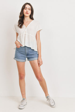 Textured Button Front Detail V-neck Short Sleeves Top