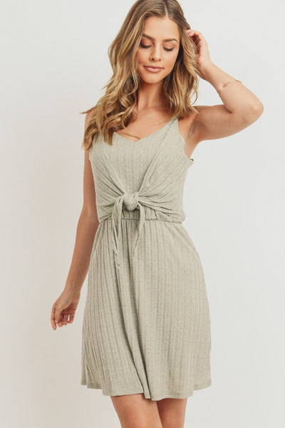 Textured Knit Front Tied Dress