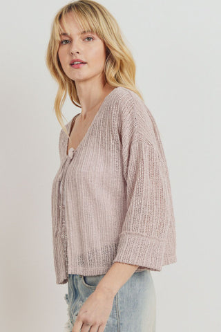Textured Knit Folded Sleeve One Button Cardigan