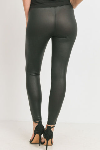 Cut Out Mesh Pu Leggings
