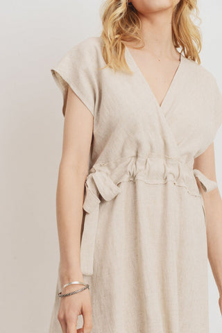 Linen Surplice Drop Shoulder Dress