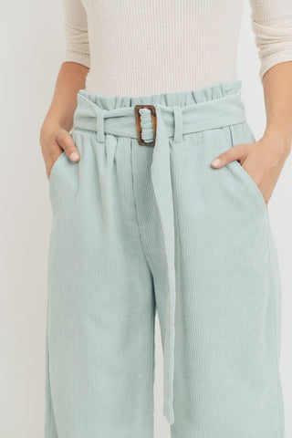 Corduroy Pants With Self Belt Tie with Buckle