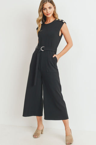 Self Tie Knit Jumpsuit With Shoulder Flat Buttons