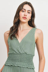 Rib Smocking Waist Surplice Sleeveless Top