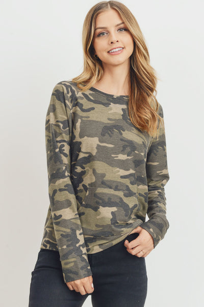 Raglan Camo Printed Terry with Front Pocket Long Sleeve Top