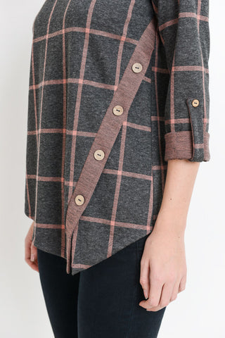 Grid Print Asymmetrical Button Detail Rolled Up Top