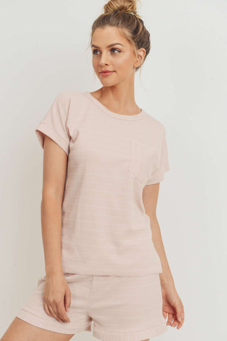 Rib Stripe Jersey Front Cut Edge Pocket Top
