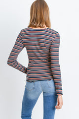 Striped Ribbed Long Sleeve Top