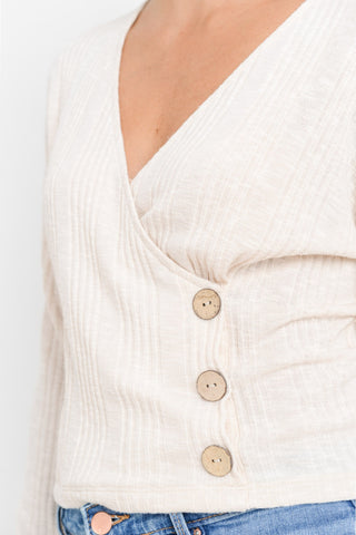 Cross Neck Long Sleeve Top Front Button Details