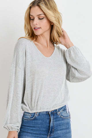 Striped V-neck Boxy Long Sleeve Top