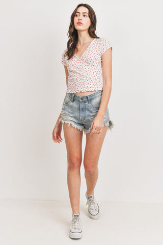 Textured Floral Surplice Short Sleeve Top