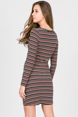 Multi Striped Ribbed Ruched Long Sleeve Dress