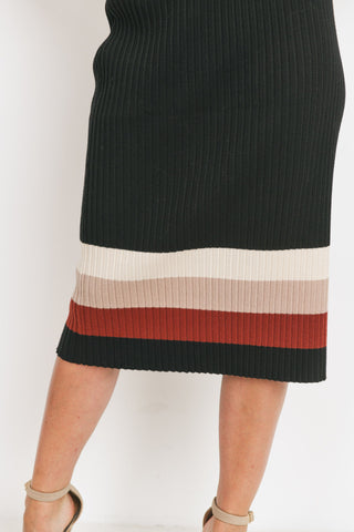 Sweater Knit Color Block Midi