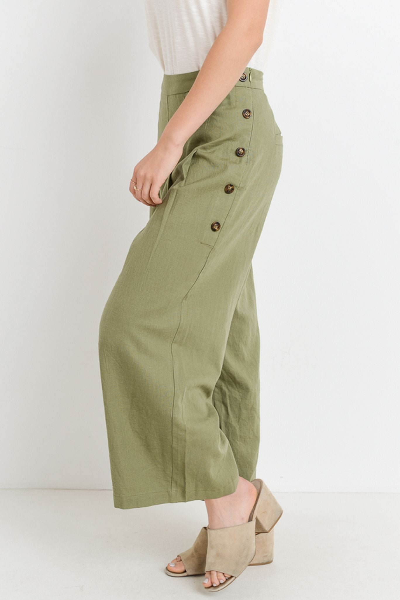 Culotte Pants With Button Down Sides