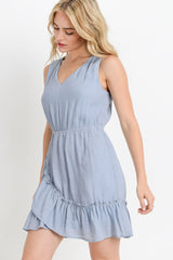 V Neck Dress With Ruffle Skirt
