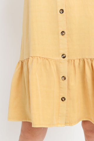 Wash Button Up Dress With Ruffle Hem