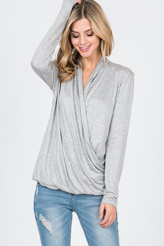 Rayon Span Jersey Surplice Long Sleeve Top