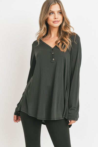 Long Sleeve Cupro Jersey Top With Buttons