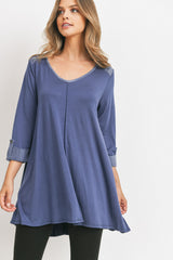 Three Quarter Sleeve Modal Top With Woven Contrast