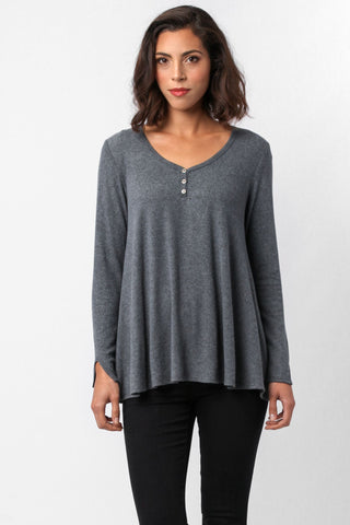 Three Buttons Brushed Jersey Top S-M-L-XL