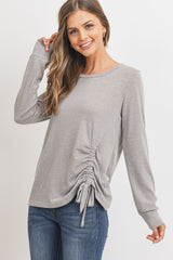 Hacci Ruched Drawstring Top