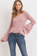 Long Sleeve Hacci Knit Bell Sleeve Detail