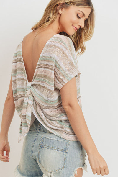 Knit Back Tie Detail Top