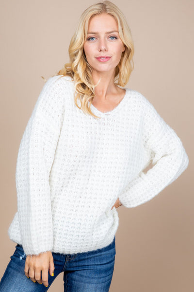V-neck Thermam Knit Oversized Sweater