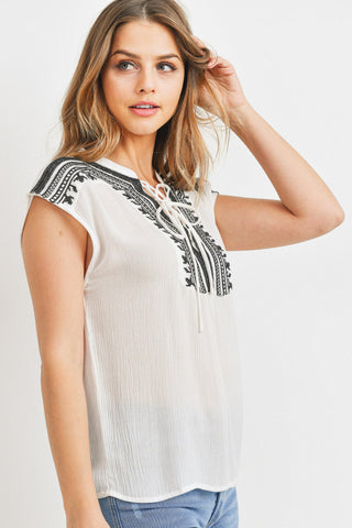 Embroidered Detail With Lace Up Front