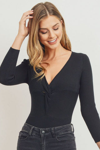 Twist Front Knit Bodysuit