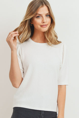 Textured Puff Sleeve Knit Top