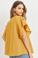 Button Tie Up Sleeve Detailed Linen Top