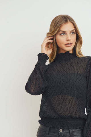 Smocked Mock Neckline Sheer Long Sleeves Top