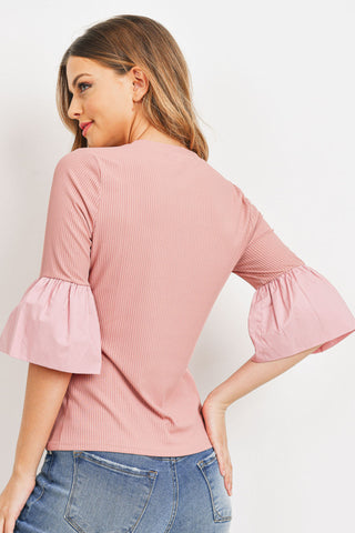 Ribbed Bubble Sleeve Top