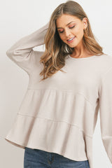 Long Sleeve Tiered Baby Doll Waffle