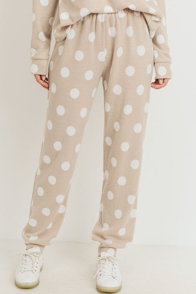Brushed Hacci White Polka Dot Printed Joggers