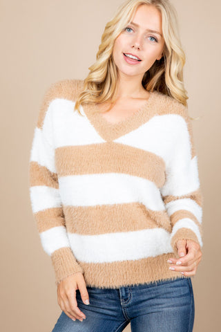 V Neck Stripped Varsity Fuzzy Sweater