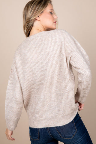 V-Neck Ribbed Oversized Sweater