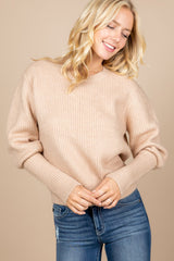 Round Neck High Cuff Balloon Sleeve Sweater
