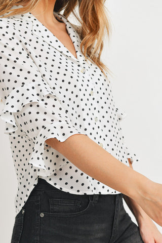 Polka Dot Button Down With Tiered Ruffles Sleeves