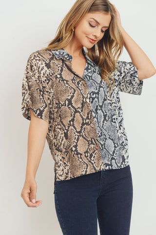 Mixed Snake Print Satin Short Sleeve