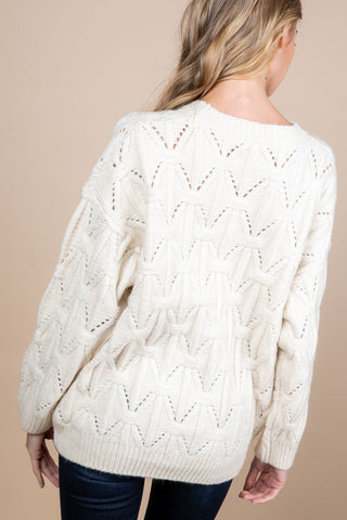 Round Neck 3D Knitting Sweater