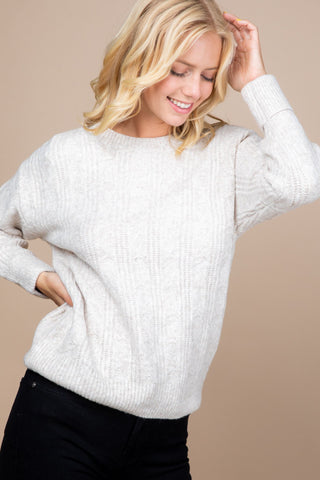 Round Neck Ribbon Rib Sweater