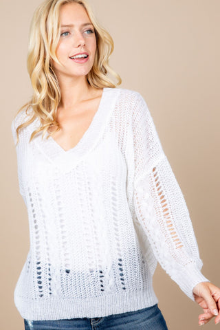 V-Neck Seethrough Sweater
