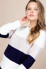 Round Neck Ribbed Color Block Sweater