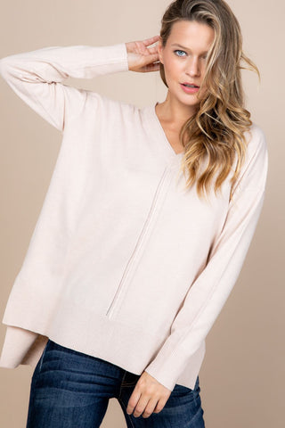 V Neck Oversized Hi Low Sweater