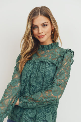 Back Tie Lace Long Sleeve Blouse