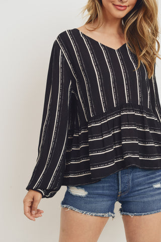 Stripe Oversize Peplum Long Sleeve