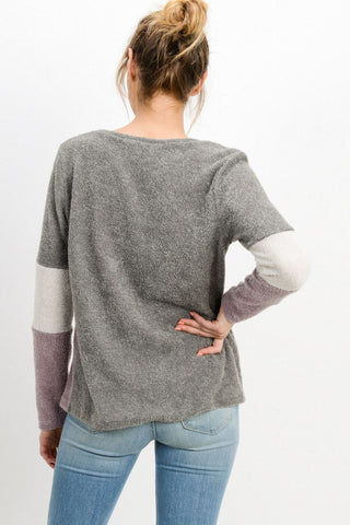 Contrasted Long Sleeve Top-Boat neckline